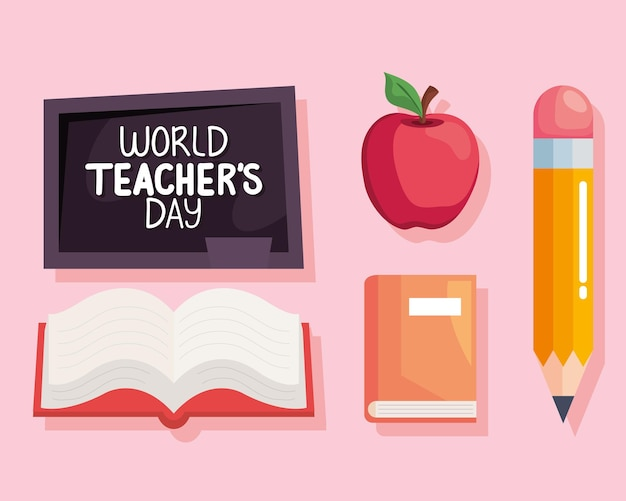 Conjunto de ícones do dia mundial dos professores