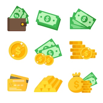 Conjunto de ícones do dólar. vetor de valor em dólar carteira e cartão de crédito ideias para gastar dinheiro.