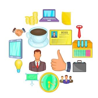 Conjunto de ícones do empresário, estilo cartoon
