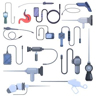 Conjunto de ícones do endoscópio. conjunto de desenhos animados de ícones de endoscópio