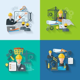 Conjunto de ícones do engenheiro