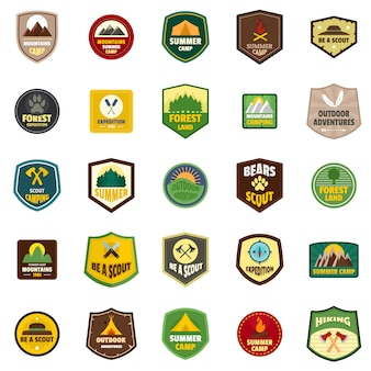 Conjunto de ícones do escoteiro emblema emblema selo
