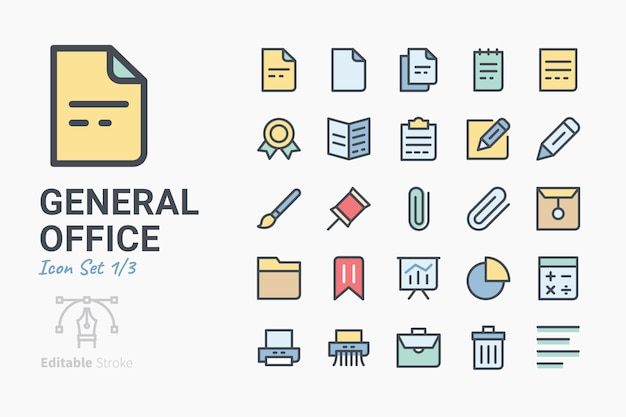 Conjunto de ícones do escritório geral