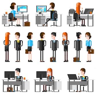 Conjunto de ícones do escritório pessoas cartoon