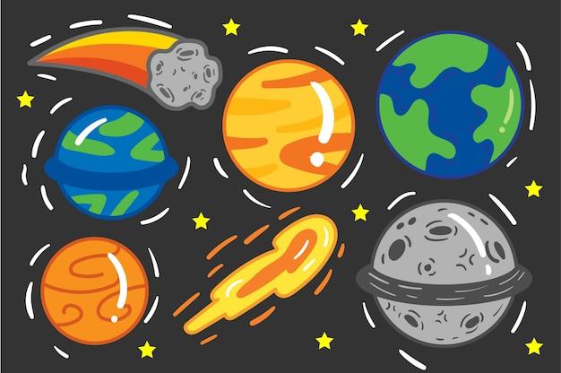 Conjunto de ícones do espaço dos desenhos animados.