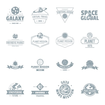 Conjunto de ícones do espaço planeta logotipo