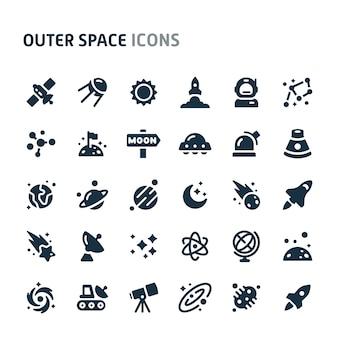 Conjunto de ícones do espaço sideral. série de ícone preto fillio.