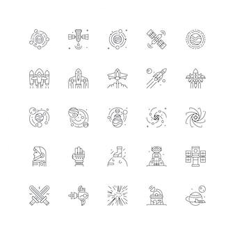 Conjunto de ícones do espaço universo isolado