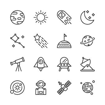 Conjunto de ícones do espaço