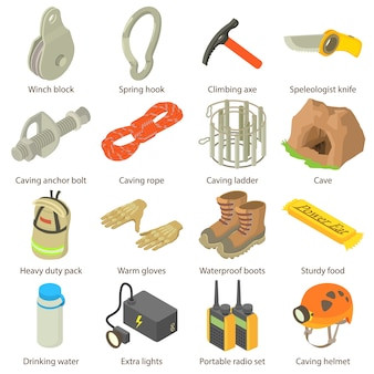 Conjunto de ícones do espeleólogo. ilustração isométrica de 16 ícones de vetor de speleologist para web