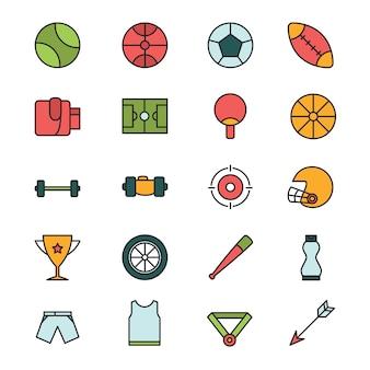Conjunto de ícones do esporte em design plano