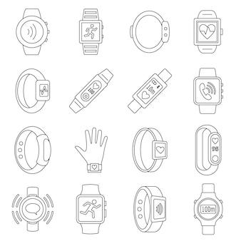 Conjunto de ícones do esporte fitness tracker