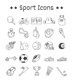 Conjunto de ícones do esporte no estilo doodle