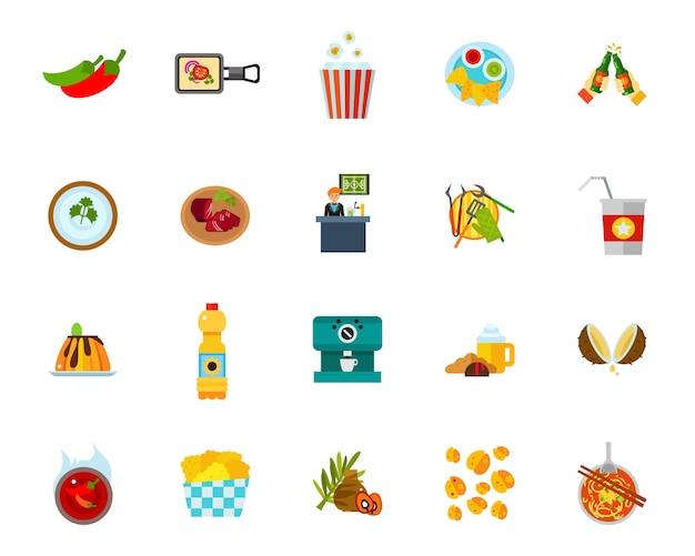 Conjunto de ícones do estabelecimento de comida