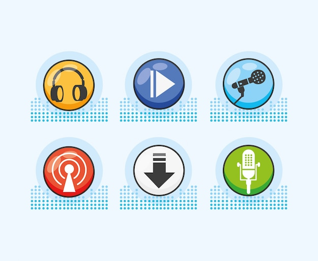 Conjunto de ícones do estúdio de áudio digital