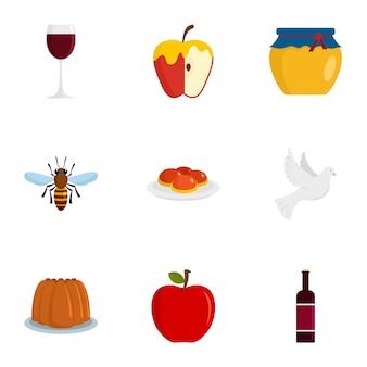 Conjunto de ícones do feriado judaísmo, estilo simples