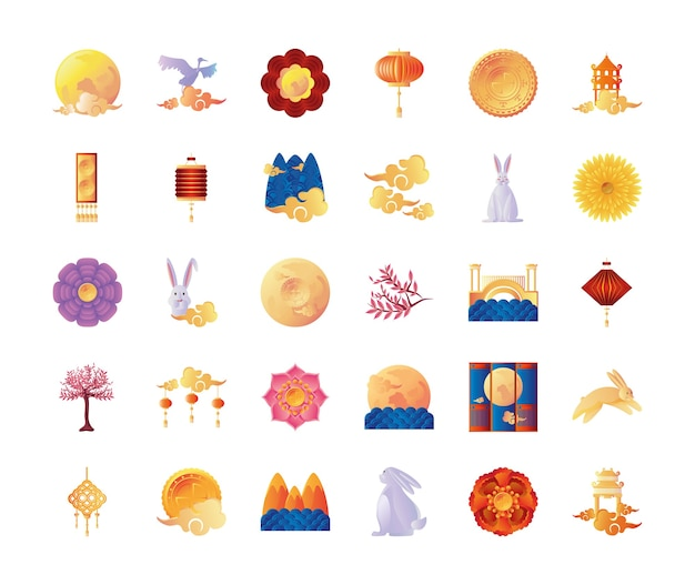 Conjunto de ícones do festival do meio do outono em design de fundo branco