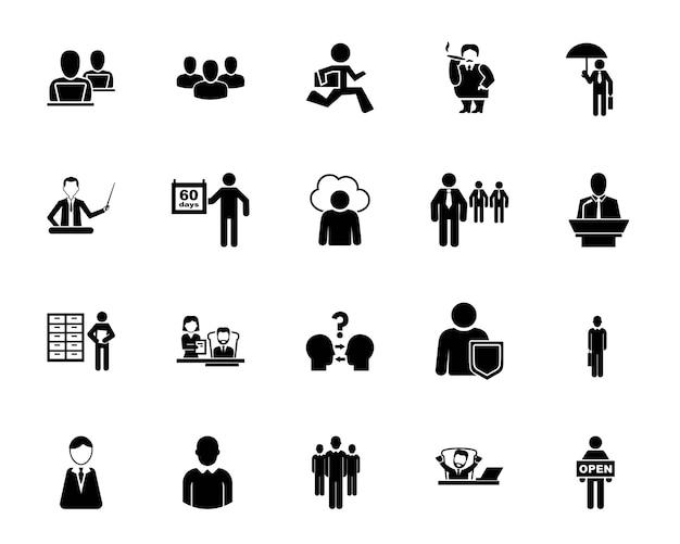 Conjunto de ícones do funcionário do escritório