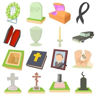 Conjunto de ícones do funeral