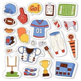 Conjunto de ícones do futebol americano.
