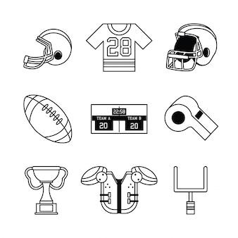Conjunto de ícones do futebol americano