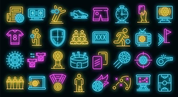 Conjunto de ícones do futebol. conjunto de contorno de ícones de vetor de futebol cor de néon no preto