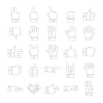 Conjunto de ícones do gesto