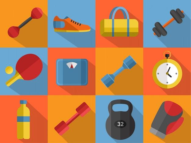 Conjunto de ícones do ginásio esportes equipamentos.
