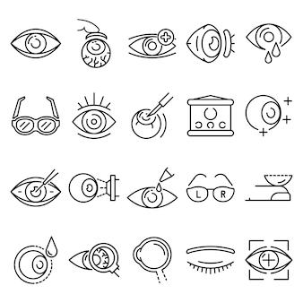 Conjunto de ícones do globo ocular. conjunto de contorno dos ícones do vetor de globo ocular
