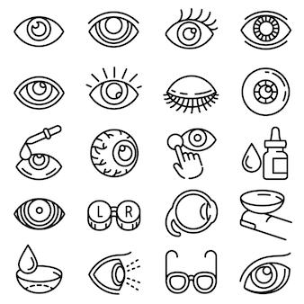 Conjunto de ícones do globo ocular, estilo de estrutura de tópicos