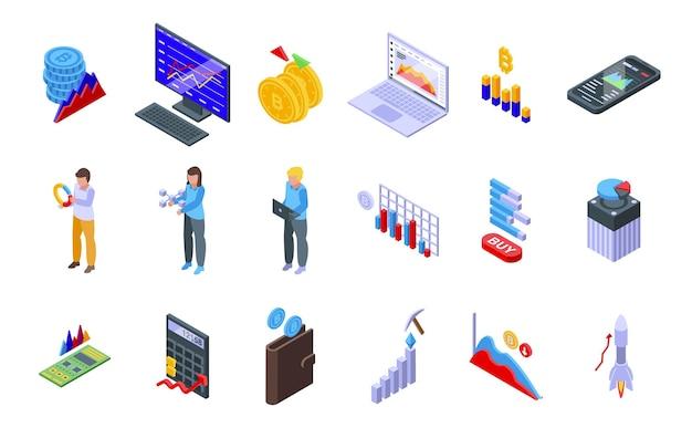 Conjunto de ícones do gráfico bitcoin. conjunto isométrico de ícones do vetor gráfico bitcoin para web design isolado no fundo branco