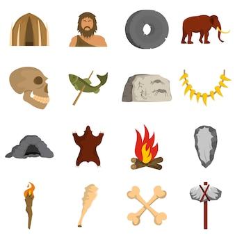 Conjunto de ícones do homem das cavernas
