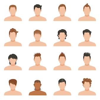 Conjunto de ícones do homem de penteado