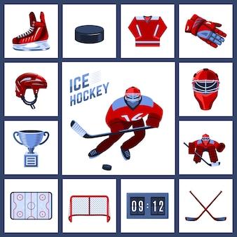 Conjunto de ícones do hóquei