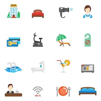 Conjunto de ícones do hotel flat