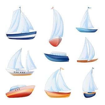 Conjunto de ícones do iate. conjunto de desenhos animados de ícones vetoriais de iate para web design