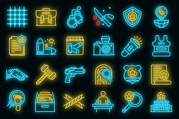 Conjunto de ícones do investigador. conjunto de contorno de ícones de vetor de investigador, cor de néon em preto