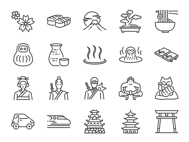 Conjunto de ícones do japão.