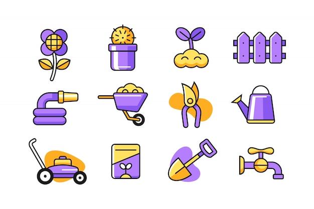 Conjunto de ícones do jardim