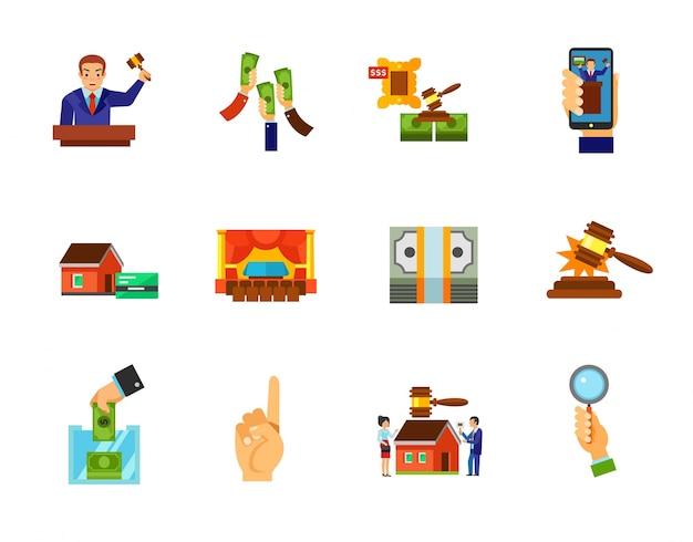 Conjunto de ícones do leilão