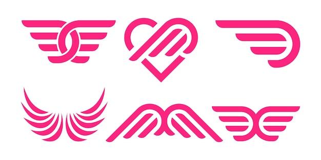 Conjunto de ícones do logotipo criativo wing. emblemas de asas. emblemas de asas de coleção. ilustração vetorial.