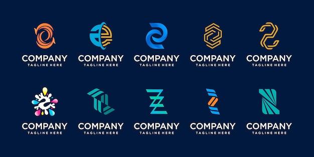 Conjunto de ícones do logotipo da letra z para empresas de moda esportiva automotiva