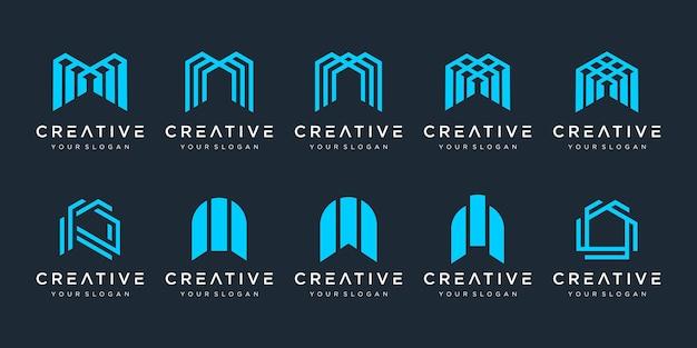 Conjunto de ícones do logotipo do monograma m
