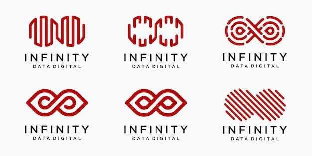 Conjunto de ícones do logotipo infinito.