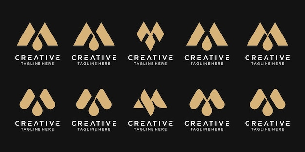Conjunto de ícones do logotipo m inicial do monograma para negócios de luxo, esporte e moda