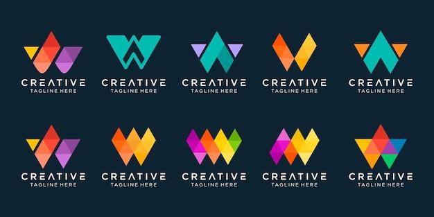 Conjunto de ícones do logotipo w com iniciais da coleção desig para negócios de tecnologia digital de esportes de moda