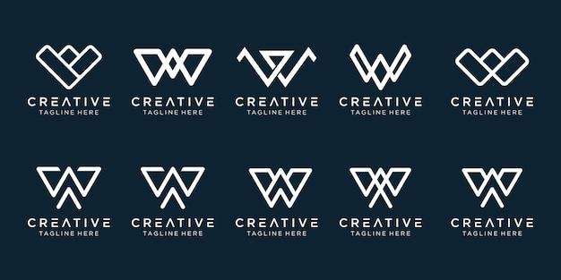 Conjunto de ícones do logotipo w para negócios de finanças e esportes de moda simples