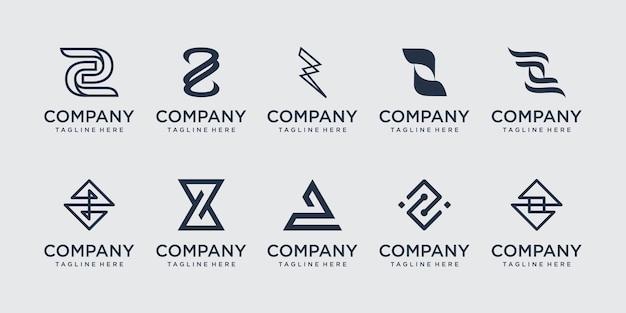 Conjunto de ícones do logotipo z inicial definido para negócios de moda esportiva automotiva