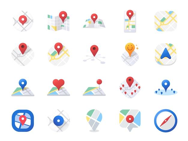 Conjunto de ícones do mapa.