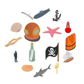 Conjunto de ícones do mar, estilo isométrico